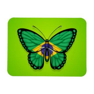 Bandera brasileña de la mariposa en verde iman de vinilo
