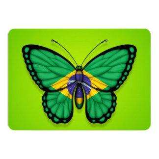"""Bandera brasileña de la mariposa en verde invitación 5"""" x 7"""""""