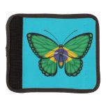 Bandera brasileña de la mariposa funda para asa de maleta