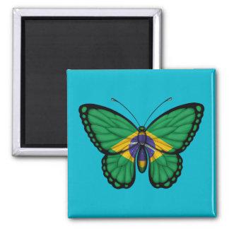 Bandera brasileña de la mariposa imán para frigorífico