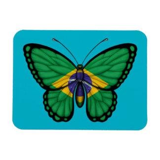 Bandera brasileña de la mariposa imán