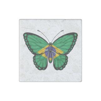 Bandera brasileña de la mariposa imán de piedra