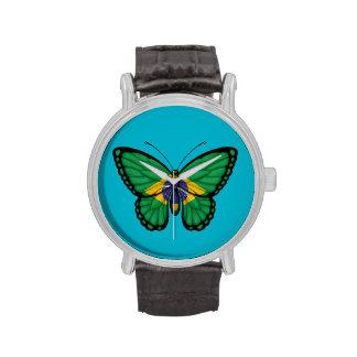 Bandera brasileña de la mariposa relojes de mano