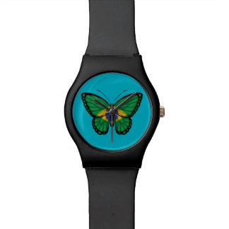 Bandera brasileña de la mariposa relojes