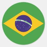Bandera brasileña de los pegatinas del Brasil Etiqueta Redonda