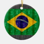 Bandera brasileña de madera adornos