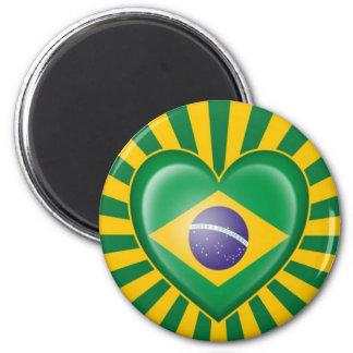Bandera brasileña del corazón con la explosión de  iman para frigorífico