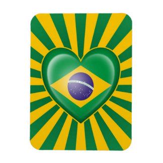 Bandera brasileña del corazón con la explosión de  imán rectangular