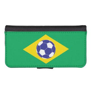 Bandera brasileña del fútbol fundas tipo cartera para iPhone 5