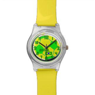 Bandera brasileña el Brasil conocido adaptable del Reloj