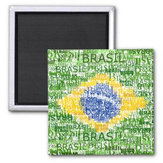 Bandera brasileña - el Brasil textual Imán Cuadrado