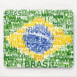 Bandera brasileña - el Brasil textual Alfombrillas De Ratón