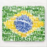 Bandera brasileña - el Brasil textual Tapetes De Ratón
