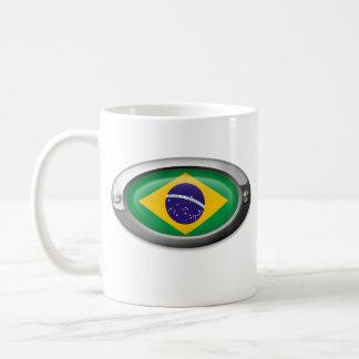 Bandera brasileña en el marco de acero taza de café