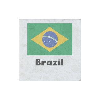 Bandera brasileña imán de piedra