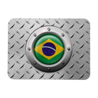 Bandera brasileña industrial con el gráfico de ace imán