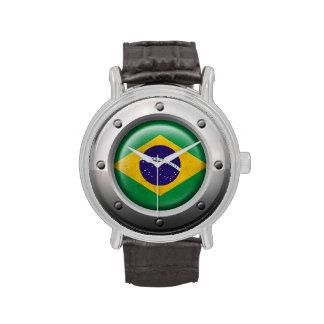Bandera brasileña industrial con el gráfico de ace reloj