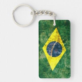 Bandera brasileña llavero rectangular acrílico a doble cara