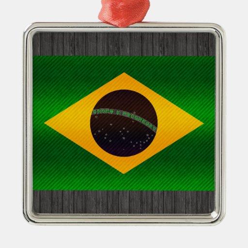 Bandera brasileña pelada moderna adorno para reyes
