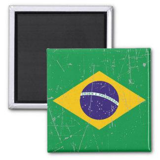 Bandera brasileña rascada y rasguñada imán para frigorífico