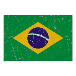 Bandera brasileña rascada y rasguñada póster