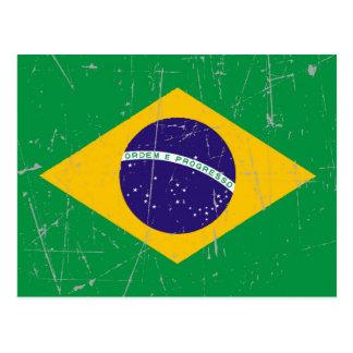 Bandera brasileña rascada y rasguñada postal
