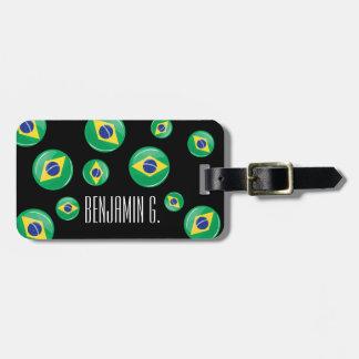 Bandera brasileña redonda brillante etiquetas de equipaje