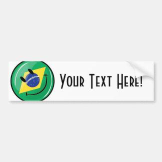 Bandera brasileña sonriente pegatina para auto