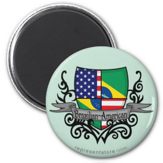 Bandera Brasileño-Americana del escudo Imán De Frigorifico