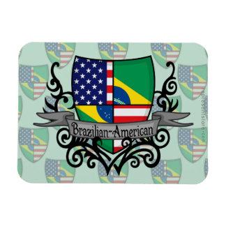 Bandera Brasileño-Americana del escudo Imán De Vinilo