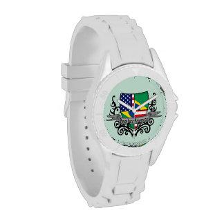 Bandera Brasileño-Americana del escudo Reloj De Mano