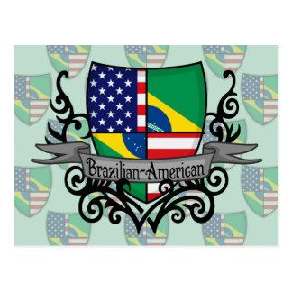 Bandera Brasileño-Americana del escudo Postales