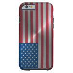 Bandera brillante de los E.E.U.U. del acero Funda De iPhone 6 Tough