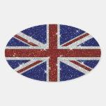 Bandera brillante de Union Jack de la chispa de Pegatina Ovalada