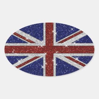 Bandera brillante de Union Jack de la chispa de Pegatina De Óval Personalizadas