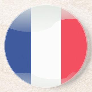 Bandera brillante francesa posavasos personalizados