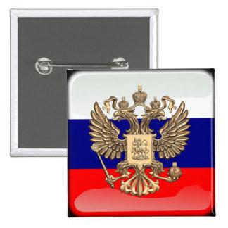Bandera brillante rusa pin cuadrado