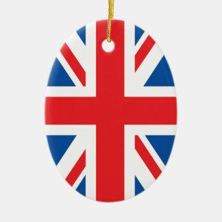 Bandera británica adorno navideño ovalado de cerámica
