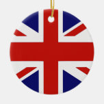 Bandera británica adorno navideño redondo de cerámica