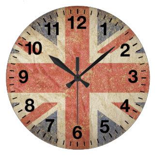 Bandera británica apenada reloj redondo grande
