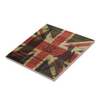 Bandera británica, autobús rojo, Big Ben y autores Azulejo Cuadrado Pequeño