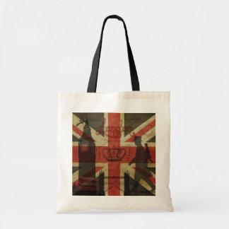 Bandera británica, autobús rojo, Big Ben y autores Bolsa Tela Barata