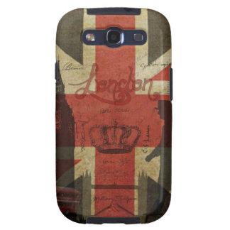 Bandera británica, autobús rojo, Big Ben y autores Galaxy S3 Carcasas