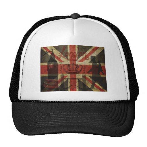 Bandera británica, autobús rojo, Big Ben y autores Gorro