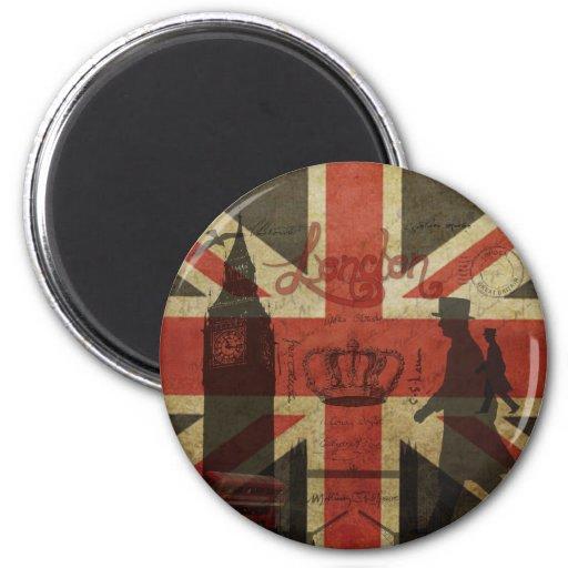 Bandera británica, autobús rojo, Big Ben y autores Iman
