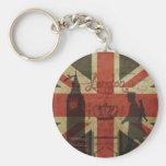 Bandera británica, autobús rojo, Big Ben y autores Llavero