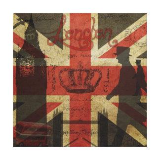 Bandera británica, autobús rojo, Big Ben y autores Lona Estirada Galerias