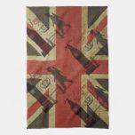 Bandera británica, autobús rojo, Big Ben y autores Toalla