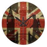 Bandera británica, autobús rojo, Big Ben y autores Relojes