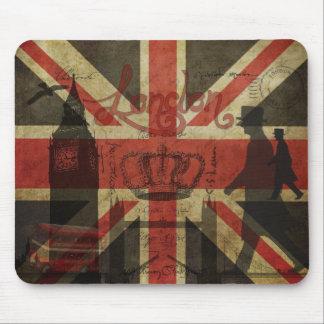 Bandera británica autobús rojo Big Ben y autores Alfombrillas De Ratón